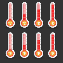 Celsius and Fahrenheit thermometers icon with different levels. Flat vector illustration isolated on black background.