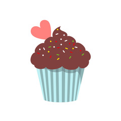 Cupcake icon on the white background for your design.