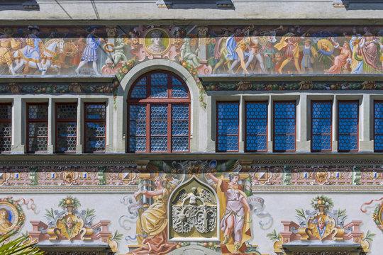 South facade Old Town Hall at Reichsplatz, Lindau, Swabia, Bayern, Germany, Europe