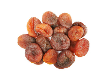 Close up picture of dried organic apricots isolated on white background.