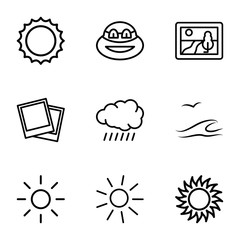 Set of 9 sunset outline icons