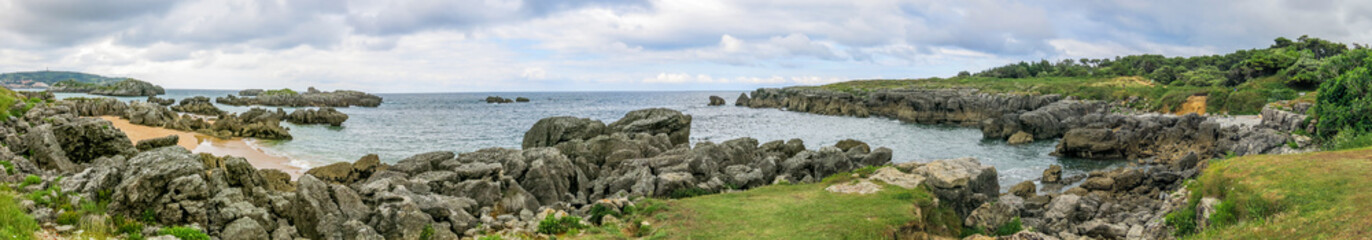 Rocky coastline in Noja, Cantabria, northern Spain