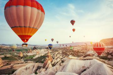 Turkey Cappadocia beautiful balloons flight stone landscape Wall mural
