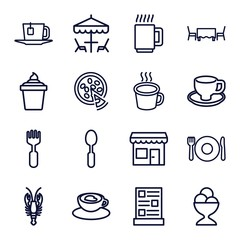 Set of 16 cafe outline icons