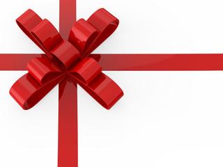 3D illustration red gift bow