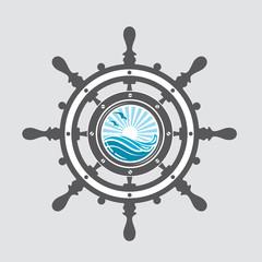 image of ship helm and porthole with sea waves