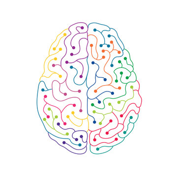 Neuron electric human brain line art illustration