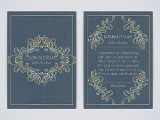 Cover design with ornamental frame. Retro style. Vintage. Ornate decoration. Brochure, flyer, invitation or certificate. Size a4. Vector illustration, eps10