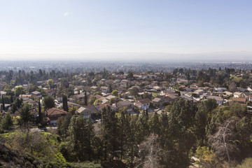 View of smog hanging over homes in the Los Angeles suburb of Porter Ranch in the San Fernando Valley.