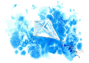 Kite in the blue sky. Abstract image. Watercolor drawing.