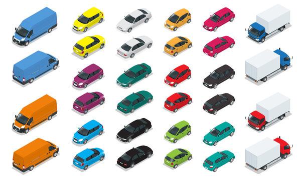 Car icons. Flat 3d isometric high quality city transport. Sedan, van, cargo truck, hatchback. Set of urban public and freight transport