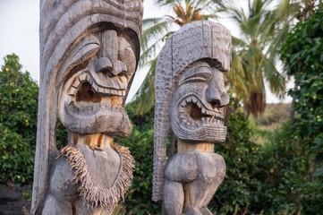 Religious statues of Hawaii's native polynesian people in Puauhonua o Honaunau National Historical Park on Big Island, Hawaii