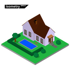 Isolated isometric small house