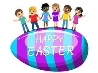 Happy Multicultural kids hand in hand big egg easter isolated