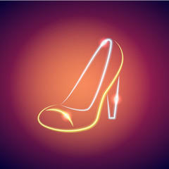Neon female shoe Vector illustration Neon bright figure in the form of women's shoe