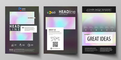 Business templates for brochure, flyer, report. Cover design template, vector layout in A4 size. Hologram, background in pastel colors, holographic effect. Blurred colorful pattern, futuristic texture