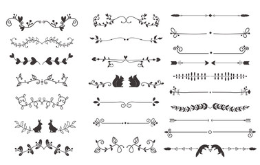 Vector dividers calligraphic line element.