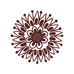 Henna tattoo mehndi flower template vector illustration.