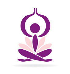 Yoga lotus man logo vector image