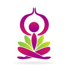 Yoga pray man with lotus flower logo