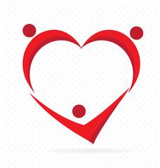 Family love heart team parenting concept logo vector