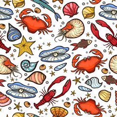 Crab and shell seamless pattern
