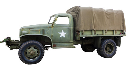 Isolated side view of vintage army truck with white star.