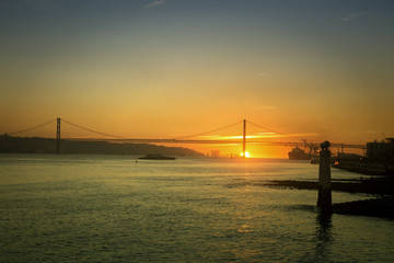 Sunset on Tagus river in Lisbon, Portugal