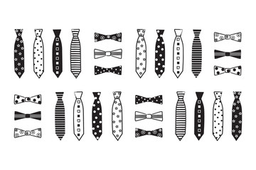Patterned neckties and bow ties in black and white. Illustration, vector clip art. Masculine, baby boy, card, invitation, announcement, shower, print.