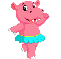 cute hippo dancing cartoon