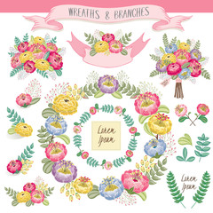 Vector illustration of a floral frame collection. A set of beautiful wreath with flowers and branches for wedding invitations and birthday cards
