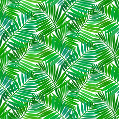 Poster Tropische Bladeren Seamless pattern with tropical palm leaves