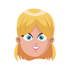 happy woman cartoon icon over white background. colorful design. vector illustration