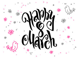 vector hand lettering greetings text - 8 march with doodle flowers and bubbles