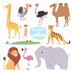 Africa animals large outdoor graphic travel desert mammal wild portrait and cute cartoon safari park national savannah elephant flat vector illustration.