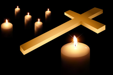 cross and burning candle 3