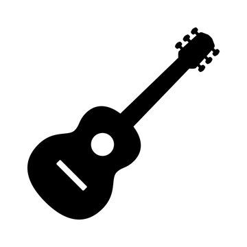 Acoustic guitar musical instrument flat vector icon for music apps and websites