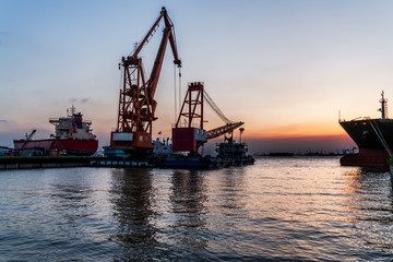 view of harbor at sunset in Jiangyin,China.
