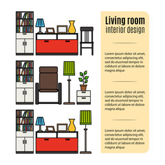 Infographic design with furniture for living room. Vector illustration