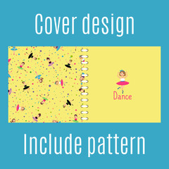 Cover design for print with dancing girls pattern. Vector illustration