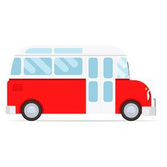 Red vector cartoon bus, isolated on white background