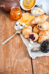 Fresh puff pastry baking. Breakfast concept.