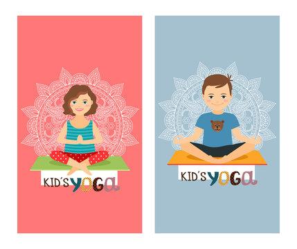 Yoga kids colorful vertical flyer design set. Vector illustration