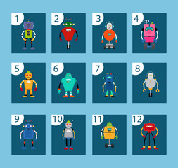 Cards with robots and numbers for kids game. Vector illustration