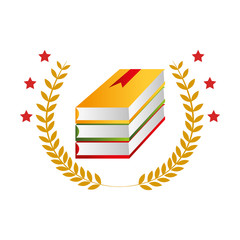 color emblem with stacking books and olive branchs vector illustration