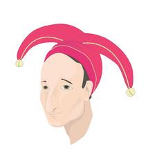 "Vector illustration ""Joker"" . Head of a sad joker wearing red hat.  Isolated on white background."