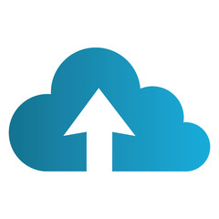 color silhouette with cloud upload service vector illustration
