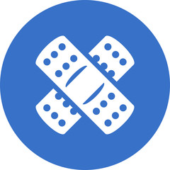 Two crossed white bandages on blue circle background