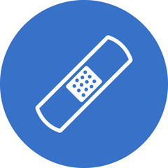 Single adhesive bandage icon on blue circle background
