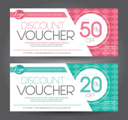 Discount voucher template with clean and modern pattern